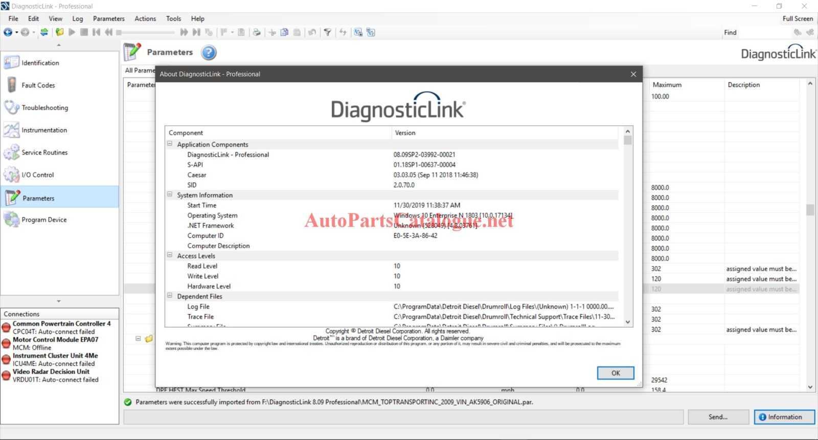 Detroit Diesel Diagnostic Link (DDDL)