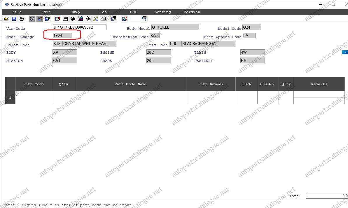 SUBARU EPC3 Spare Parts Catalog