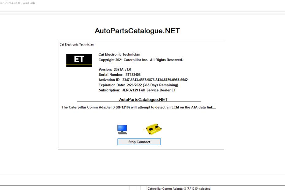 Caterpillar Electronic Technician (Cat ET 2021A) + Factory Password