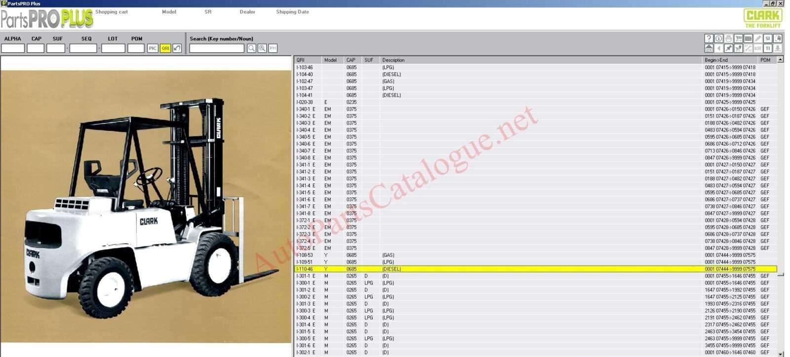 Clark Forklift Trucks PartsProPlus Parts Catalog